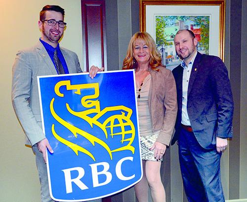 Étienne Courchesne de la Banque Royale du Canada, la présidente d'honneur Jannie Grenier de la société financière Grenco et Hugo Boisclair, président du club Rotary et directeur principal chez Raymond Chabot.