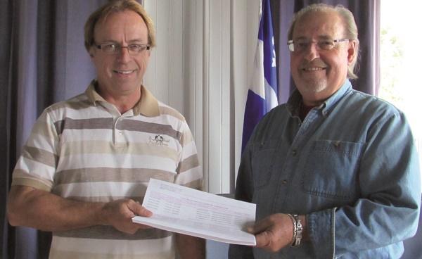 M. Dany St-Onge, inspecteur en bâtiment et environnement, remettant la compilation des bons résultats au maire de la municipalité, M. André Gamache.