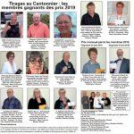 Tirages au Cantonnier : les membres gagnants des prix 2019